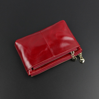 Ladies Real Leather Wallets Coin With Zipper Solid Women Wallet Genuine Cow Leather Small Luxury Brand Female Purse Fashion 2018