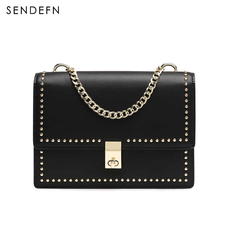 Sendefn 2018 חדש Crossbody שקיות קטן דש נשי תיק נשים מסמרת כיסוי אופנה כתף שקיות תיק עם רוכסן כיס 7239 -68