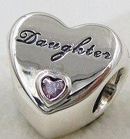 100% 925 Sterling Silver Charm Bead Amore Figlia CZ Perline cuore LOGO del MARCHIO impresso Braccialetto Autentico Lusso Monili Delle Donne