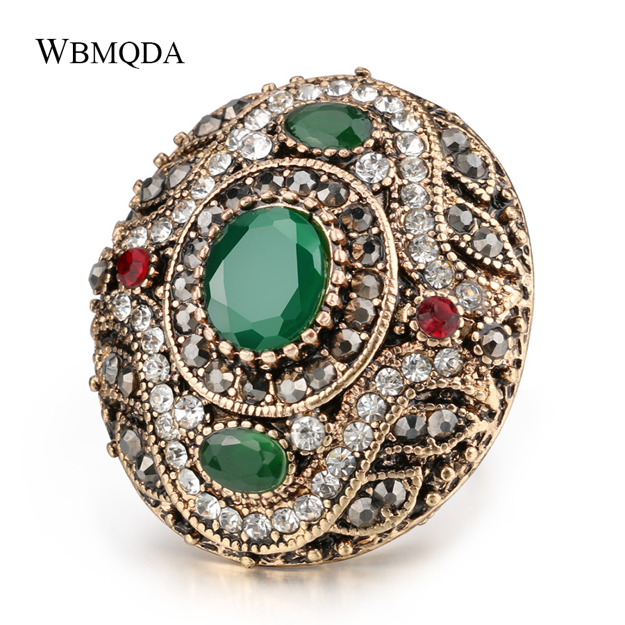 2018 New Luxury Turkish Boho Big Rings For Women Vintage Antique Gold Crystal Engagement Ring Indian Jewelry Party Accessories
