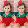 Infant newborn kids Sequin sleeveless Romper Baby Girls Romper Tulle Tutu Ruffle Jumpsuit Playsuit Sunsuit Xmas Outfits