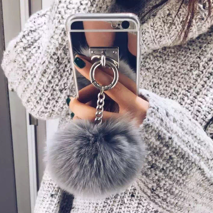 Luxury Metal Rope Mirror Rabbit Fur Ball Case Cover For IPhone 6 6S Plus Iphone 7 7 Plus For