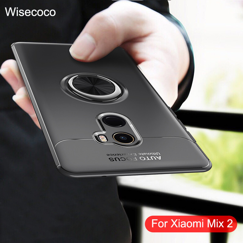 Phone Cases For <font><b>Xiaomi</b></font> <font><b>Mix</b></font> <font><b>2</b></font> Magnetic Ring Car Holder Luxury Silicone Tpu Shockproof Back Cover For Xiao <font><b>Mi</b></font> mix2 Case global 128 image