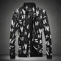 2016 Spring Autumn New Men's Jackets Eanglish Letters Pattern Outerwear Regular Slim Coat Man Black Large Size M-5XL #j16107