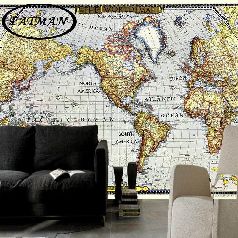 Custom 3D Photo Wallpaper European Nautical Chart Map World Map Wallpaper Decorative Lobby Studio Wallpaper Papel De Parede