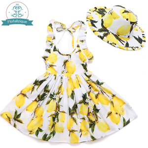 Image 2 - Baby Girls Dress with Hat 2018 Brand Toddler Summer Kids Beach Floral Print Ruffle Princess Party Clothes 1 8Y