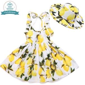 Image 2 - Baby Mädchen Kleid mit Hut 2018 Marke Kleinkind Sommer Kinder Strand Floral Print Rüschen Prinzessin Party Kleidung 1 8Y