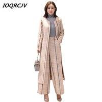 Длинные полосатые шерстяное пальто женские осень зима 2018 шерстяные пальто Широкие штаны брюки набор два комплекта Женские повседневные ко