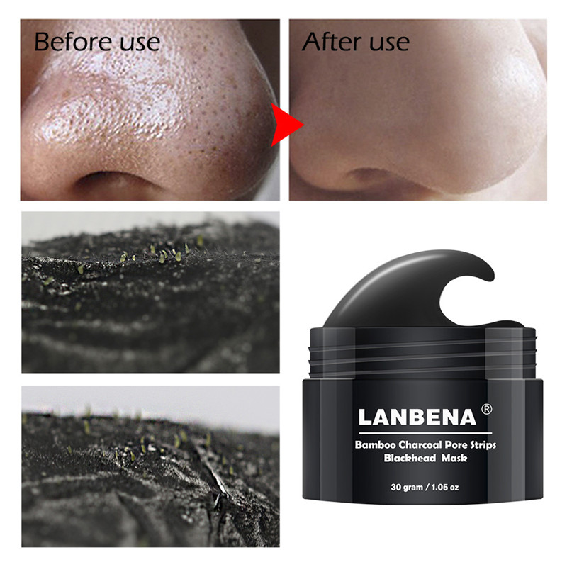 Charcoal Mask To Clear Pores And Detox Skin: Bamboo Charcoal Blackhead Remover Nose Mask Pore Strip