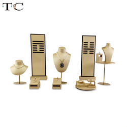 Rvs Sieraden Venster Teller Showcase Sieraden Ketting Oorbel Armband Display Houder Stand Sieraden Display Props Set