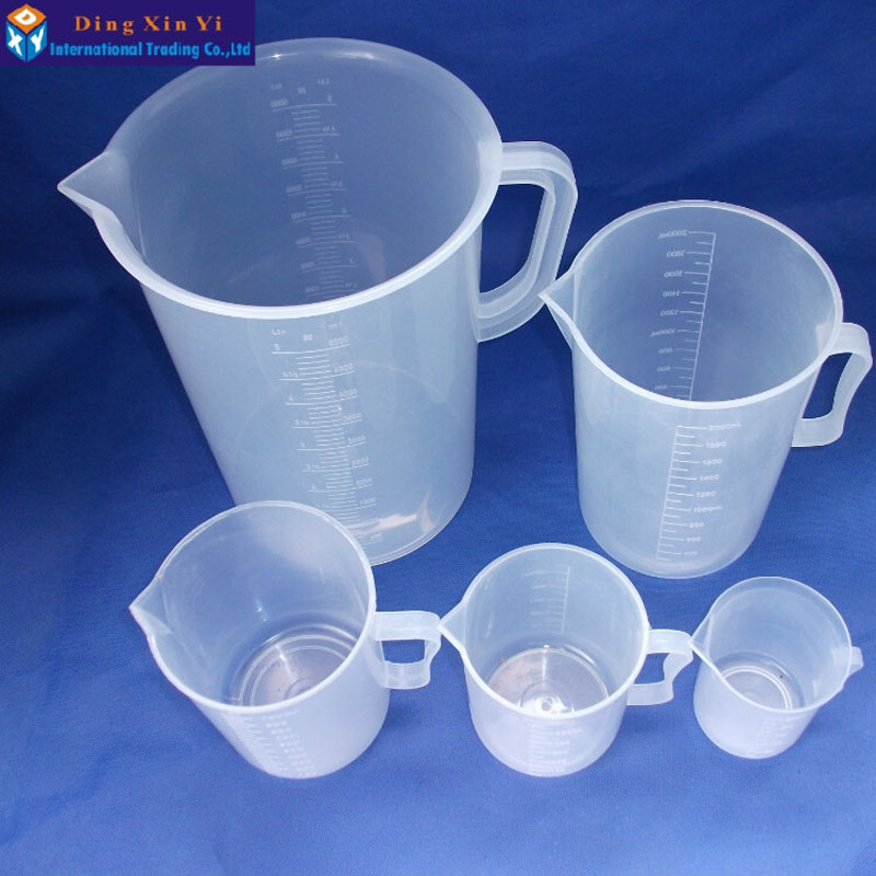 250ml/500ml/1000ml/2000ml/5000ml Plastic Beaker With Handle Clear White Plastic Measuring Cup Beaker For Lab Kitchen