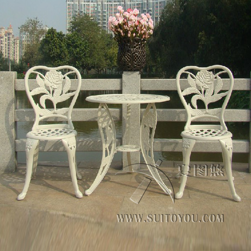 3-piece Flower good quality cast aluminum garden furniture outdoor chair and table never rust in Beige color 3 piece cast aluminum table and chair patio furniture garden furniture outdoor furniture white