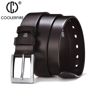 Image 3 - COOLERFIRE Belts For Men Black And Brown Top Full Grain Leather Big Silver Buckle Dress Belt JTC001