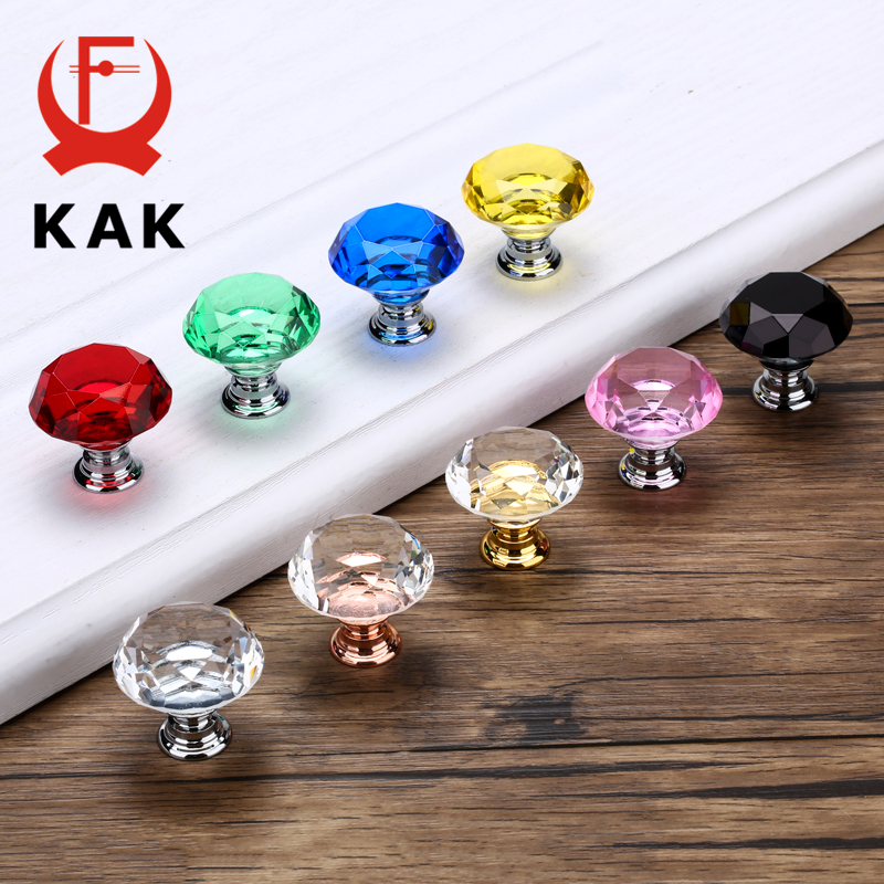 KAK 30 мм Алмазная форма дизайн хрустальные стеклянные ручки Шкаф Тянет ручки ящика кухонный шкаф ручки Мебельная ручка фурнитура