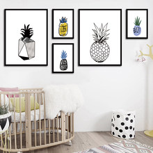 Ananas Cartoon Minimalistische Nordic Poster Wall Art kind Canvas Schilderij Modern Foto Print Thuis Kantoor Kamer Decoratie(China)