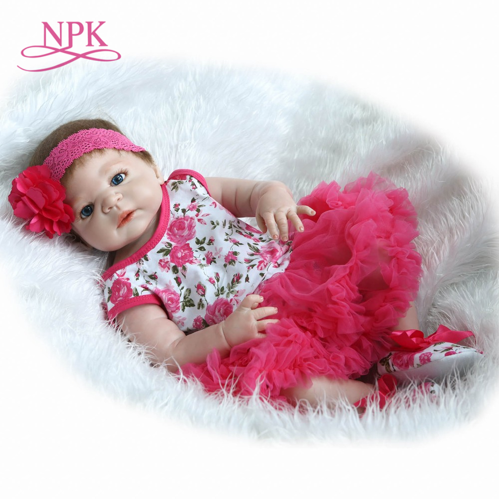 NPK 55cm Bebes reborn real girl full body silicone reborn baby doll toy for kids gift bathe doll boneca reborn silicone completa