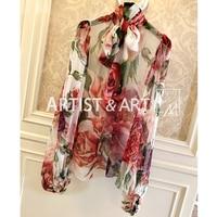 Svoryxiu Осень Высокое качество шелковые блузки рубашки Для женщин очаровательные большой пион Цветочный принт ВПП пользовательские блузка