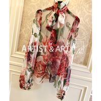 Svoryxiu Autumn High Quality Silk Blouses Shirts Women's Charming Big Peony Flower Print Runway Custom Tops Blouse