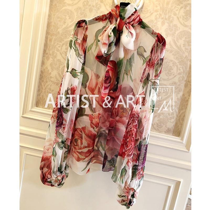 Svoryxiu Autumn High Quality Silk Blouses Shirts Women's Charming Big Peony Flower Print Runway Custom Tops Blouse
