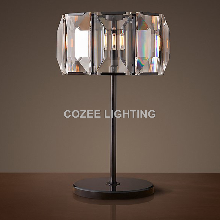 Vintage K9 Crystal Table Lamp Classic LED Desk Light Cristal Table Lighting for Home Hotel Restaurant Living and Dining Room