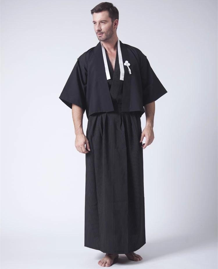 Black Japanese Men's Kimono With Obi Traditional Stage ...