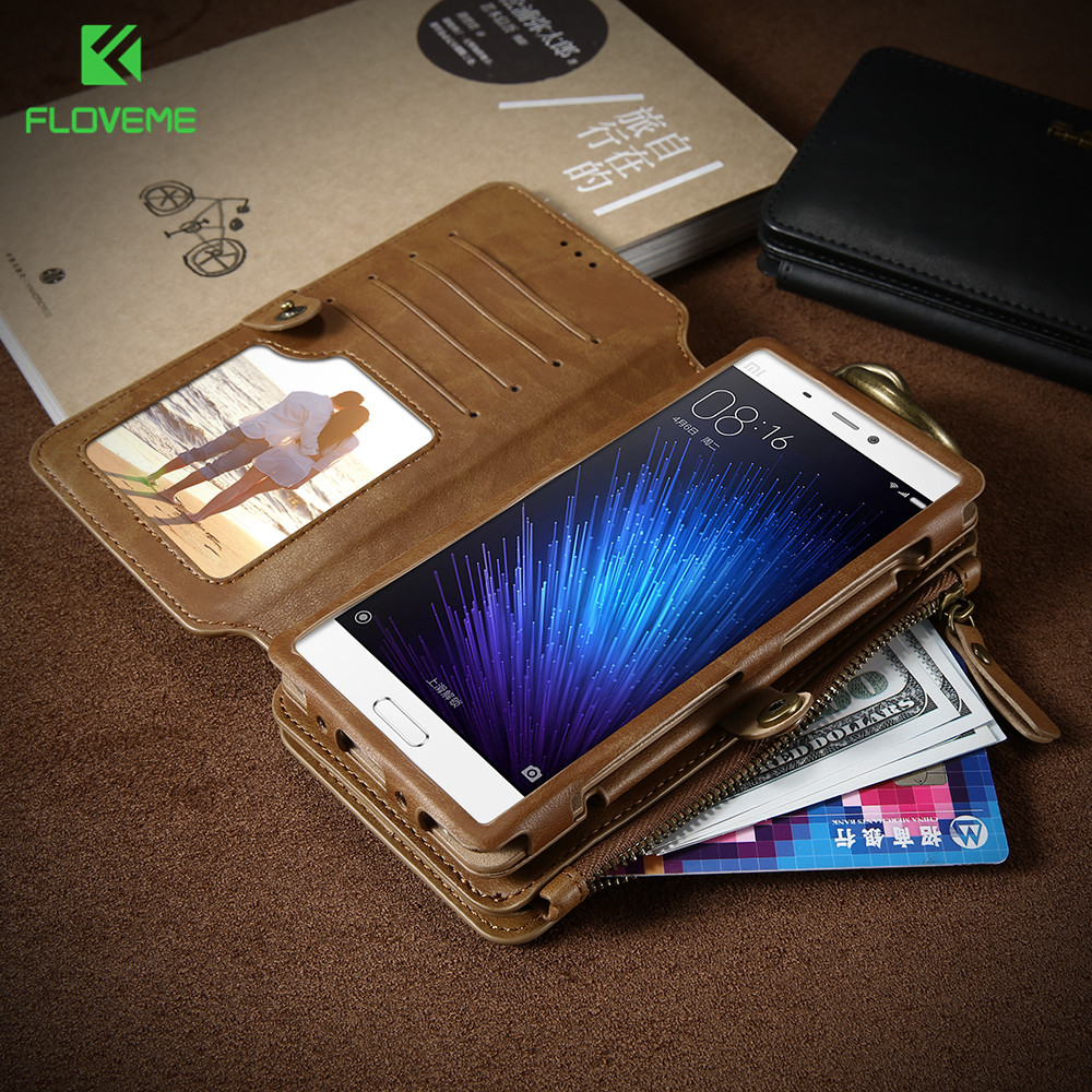 imágenes para Caja de la Carpeta Para Huawei Xiaomi mi5 FLOVEME P9 P10 P10 Más Retro PU Bolsa de Cuero Del Teléfono Casos Para Huawei P9 P10 P10 Plus Xiaomi mi5