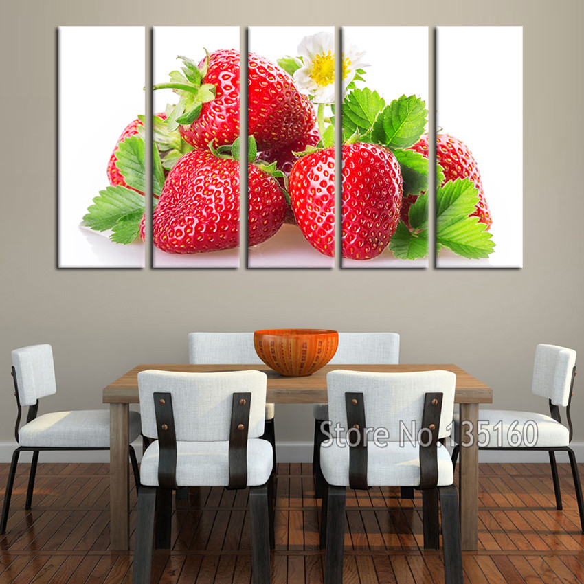 Large Modern Home Malerei Küche Wand dekor Rote Erdbeere Leinwand ...