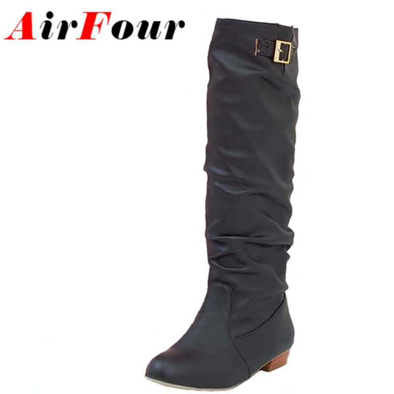 ФОТО Airfour New Autumn Half Boots Women Slip On Casual Flats Boots Low Heels Winter Shoes Women Mid-Calf Buckle Knight Boots Size 44