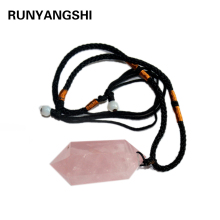 Runyangshi Hot Selling Fashion Natural Stone Pendants Point Pink crystal Roses Quartz Charms Hexagonal Column For Jewelry