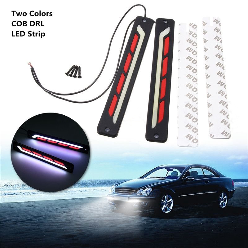 2pcs White & Red 12V COB LED Flexible DRL Car Daytime Running Driving Light Strip Ultra Bright Lamp 6w 450lm cob led red light car daytime running lamps 12v 2 pcs