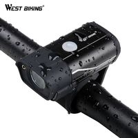 WEST BIKING Bicycle Front Lamps 350 Lumens USB Rechargeable Aluminum Alloy L2 LED Handlebar Rainproof MTB