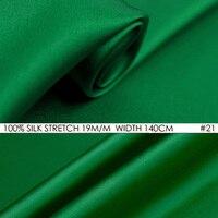 İPEK STREÇ SATEN 140 cm genişliği 19mm Saf Ipek Kumaş Saten + Spandex Kumaş Moda Kumaşlar Kadın Gömlek Malzemesi NO21 Bambu Yeşil