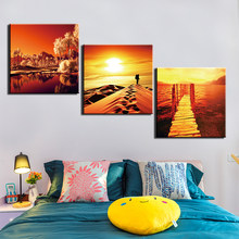 Posters and Prints Painting Scenery Pictures Wall Art for Living Room Home Decor Canvas Art 3 Piece Set Framed(China)