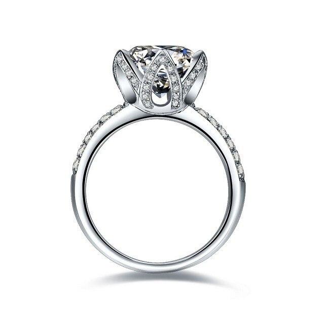 New Design Lotus Flower Women Wedding Diamond Ring Bridal Engagement