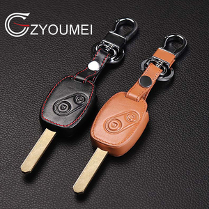Genuine Leather Car Key Case Cover Key Chain Ring holder for Honda Accord Civic CRV Pilot Remote Key, 2 Buttons Protect cover(China)