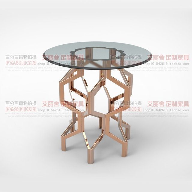 Modern Fashion Stainless Steel Rose Gold Small Round Coffee Table A Few Custom Angle Side Several