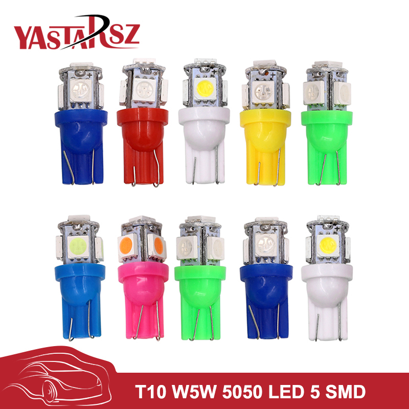 10X T10 5SMD DC 12V 1W 5050 5 SMD 192 168 194 W5W white/blue/red/green/yellow/pink Xenon LED Side Light Wedge Bulb Lamp For Car 220v home lighting colorful led bulb ampoule e27 3w energy saving light red orange yellow green blue milk pink lamp smd2835