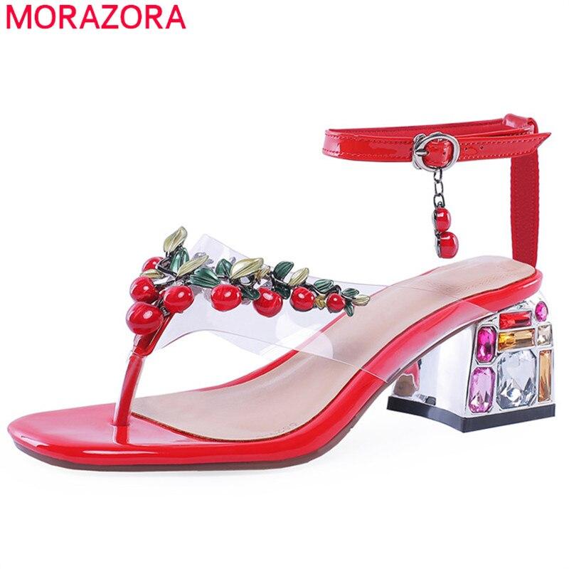 Ayakk.'ten Yüksek Topuklular'de MORAZORA 2019 artı boyutu 46 kadın sandalet hakiki deri ayakkabı boncuk parti düğün ayakkabı kadın yaz kare topuklu ayakkabılar kadın'da  Grup 1