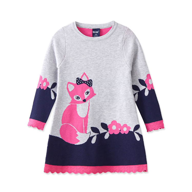 2016 new autumn Casual fashion children's cotton double jacquard round neck baby girl fox print dress knit pullover kids sweater цена