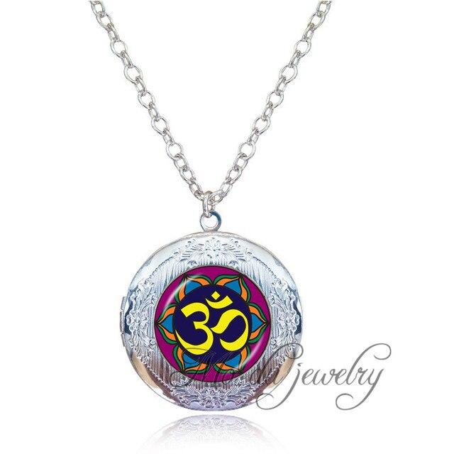 Vintage Jewelry Om Symbol Necklace Mandala Locket Pendant Necklace