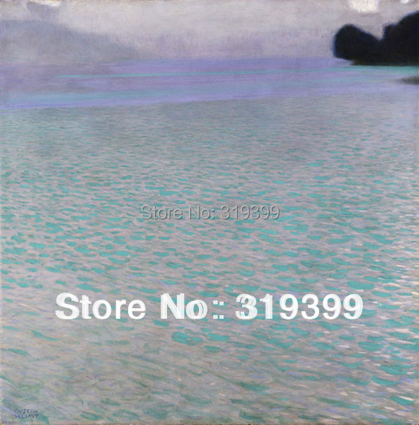 Gustav Klimt Oil Painting reproduction on Linen Canvas,Lake Attersee,Free fastship,Handmade,Museam Quality