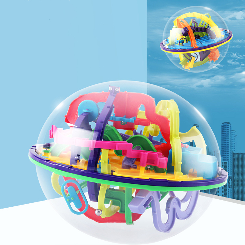 Robot Funny Globe Toys 100 Step Challenging Barriers Game Balance Training 3D Magic Intellect Ball Labyrinth Toys For Children