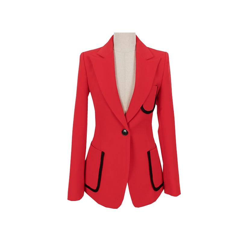 fa8d0515dc27 Blazer Solide Hit rouge Ol Crayon Et Pièces Pantalon 2 Travail Femmes Mode  Cranté Noir Ensemble Couleur Costume ...