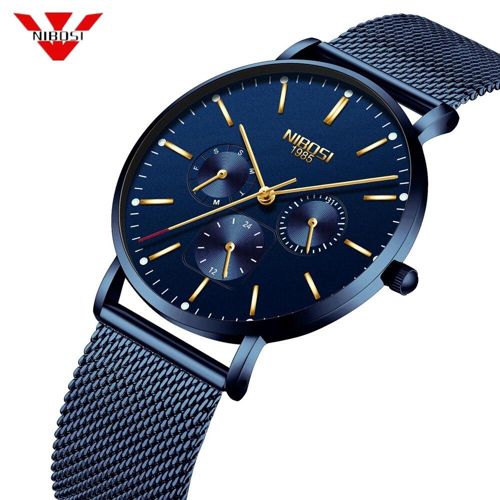 NIBOSI Brand 2018 New Men Watch Ultra Thin Stainless Steel Clock Male Quartz Sport Watch Men Casual Wristwatch Relogio Masculino цена