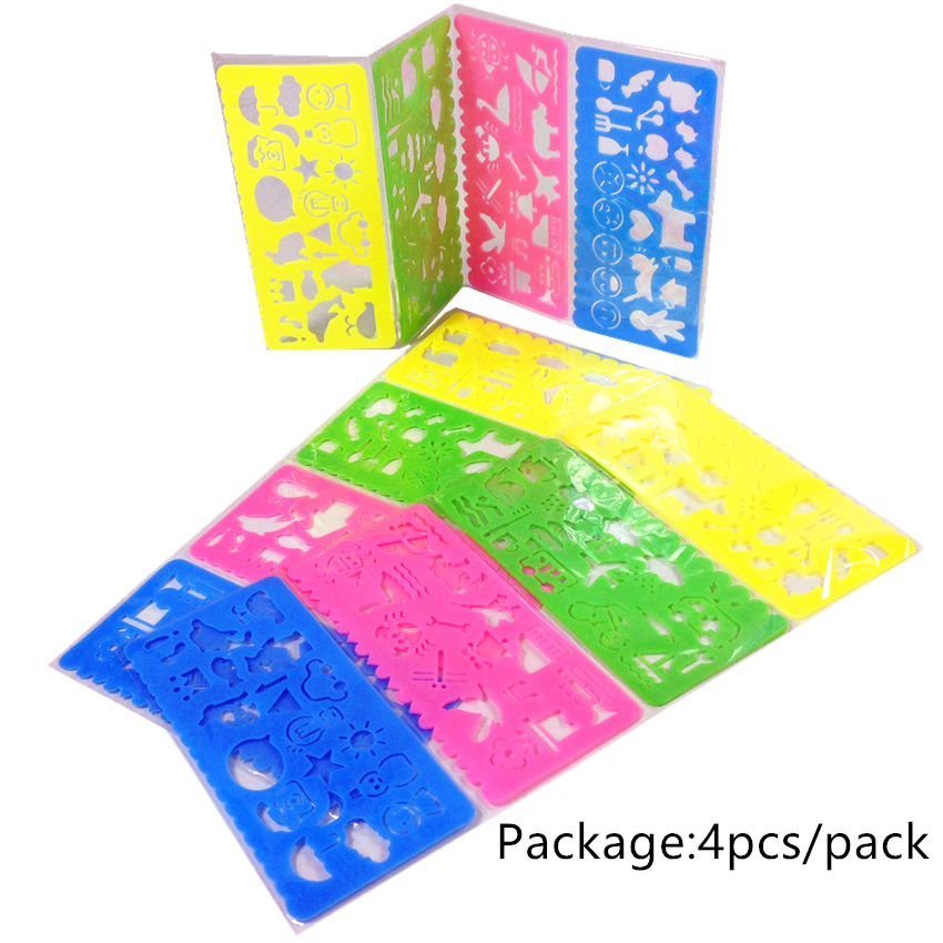 4Pcs/Set Cute Candy Color Drawing Template Ruler Promotional Cute Students' DIY Tools Prize Good Quality