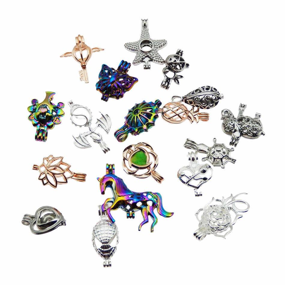 20 stücke Mischte farben Hybrid modelle Zink-legierung Perle Käfig Anhänger Aromatherapie Ätherisches Öl Diffusor Schmuck Halskette DIY Schmuck