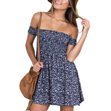 Off Shoulder Floral Print Fit And Flare Summer Dress Vintage High Waist Blue Casual Women Dress 2016 Elegant Short Beach Dresses