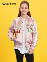 GLO STORY 2019 New Kids Double Side Wear Tassel Floral Baseball Jackets Bomber Jackets for Girls Children Clothes Coat GFY 8037