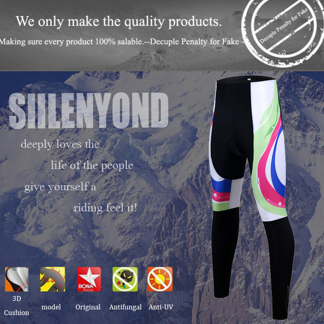 Siilenyond 2019 Women Winter 3D Gel Padded Cycling Pants Shockproof Mountain Bike Cycling Tight Racing Bicycle Cycling Trousers 2