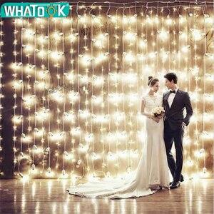 Image 1 - Rideau lumineux de noël, lampe à LED, guirlande lumineuse de 3M * 1M 6M * 3M, décoration intérieure, pour chambre à coucher, fête, mariage, vacances